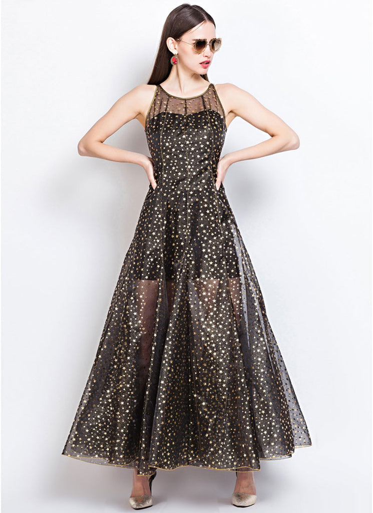 Black Tulle Maxi Dress with Golden Star Flocking