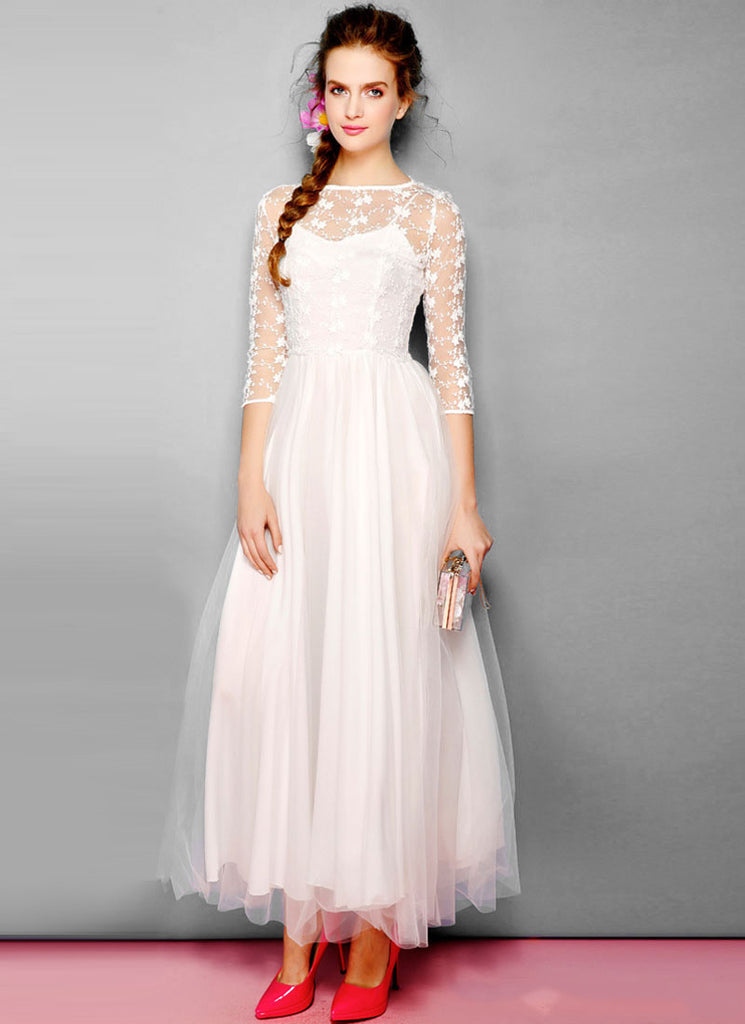 White Embroider Lace Maxi Dress with Tulle Overlay