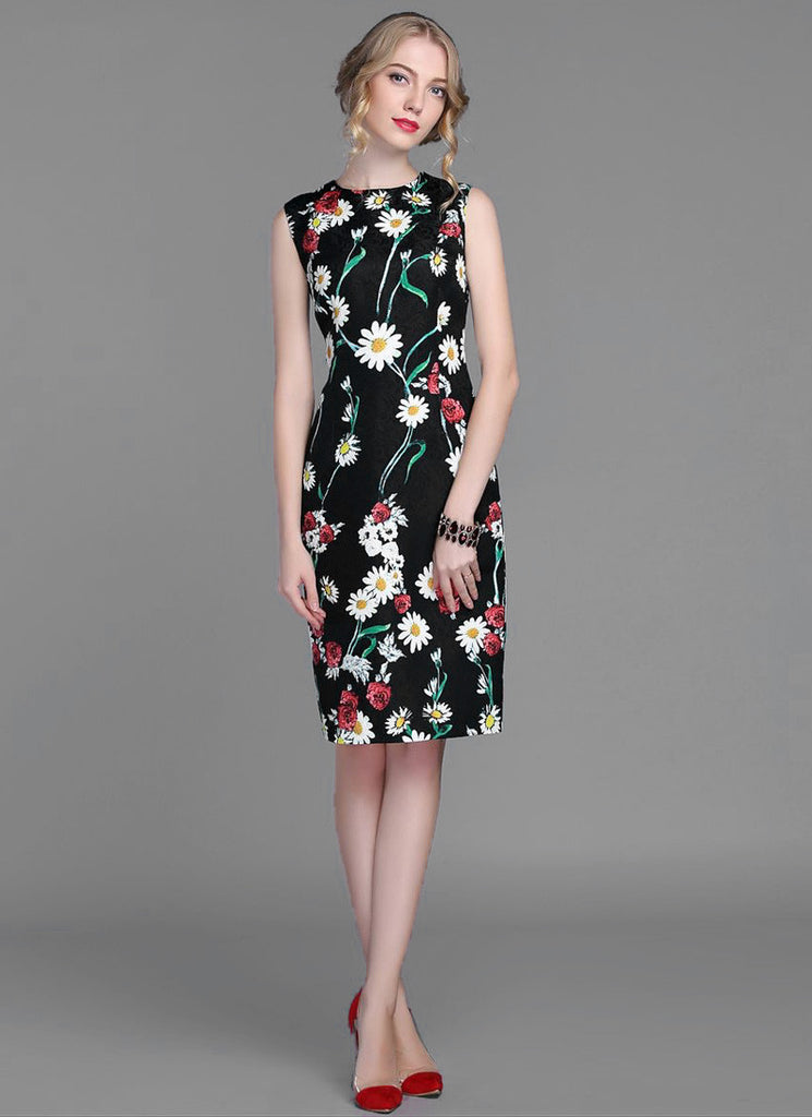 Daisy and Poppy Flower Printed Sheath Mini Dress