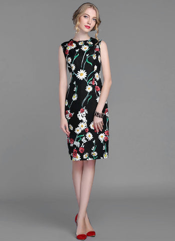 Daisy and Poppy Flower Printed Sheath Mini Dress MN56