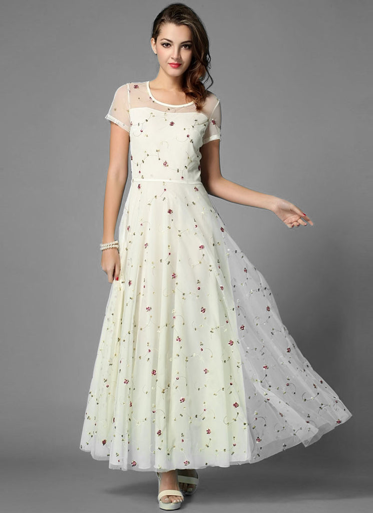 Floral Embroidered Ivory Lace Maxi Dress