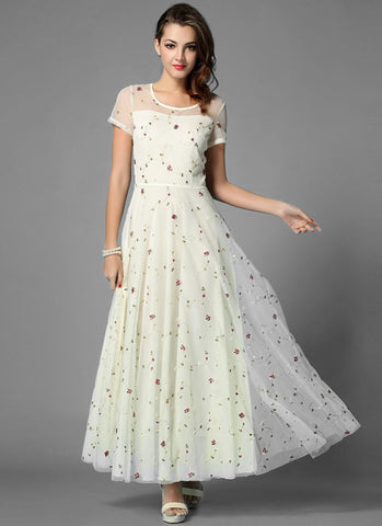Floral Embroidered Ivory Lace Maxi Dress RM274