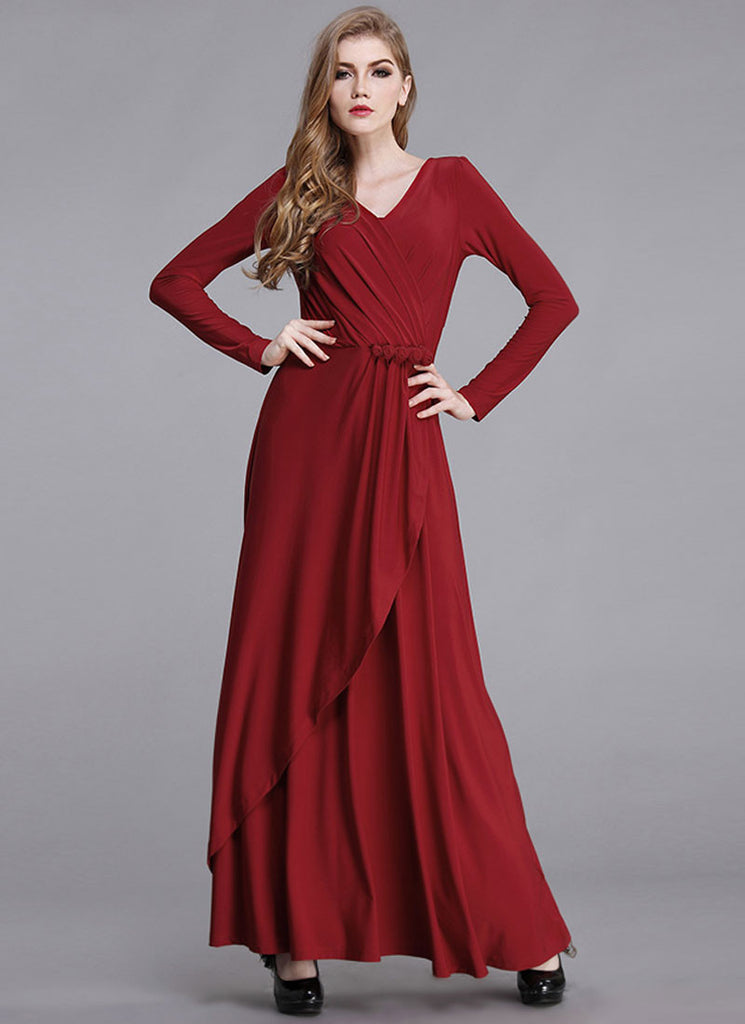 Long Sleeve Maroon Surplice Maxi Dress