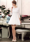 White Lace Fit and Flare Mini Dress with Beaded Neckline