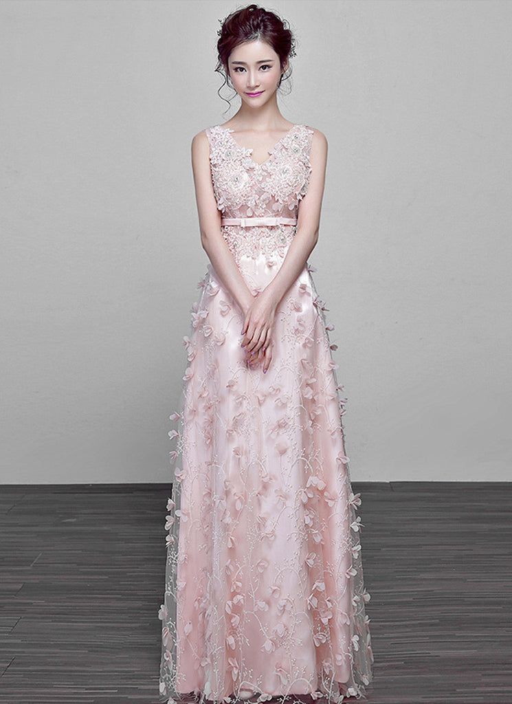 V Neck Light Pink Tulle Maxi Dress with Embroidery and Applique Details