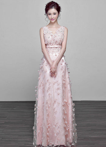 V Neck Light Pink Tulle Maxi Dress with Embroidery and Applique Details MX45