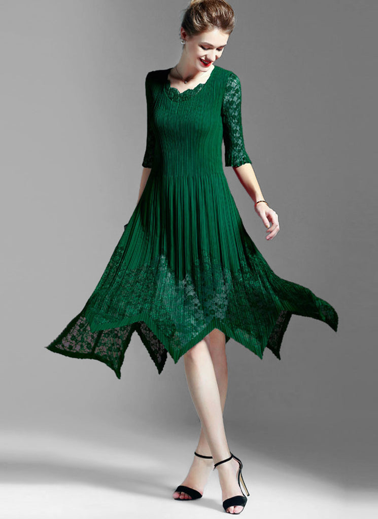 Pleated Green Lace Chiffon Midi Dress with Asymmetric Hem and Scalloped V Neck