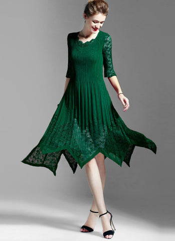 Pleated Green Lace Chiffon Midi Dress with Asymmetric Hem and Scalloped V Neck MD13