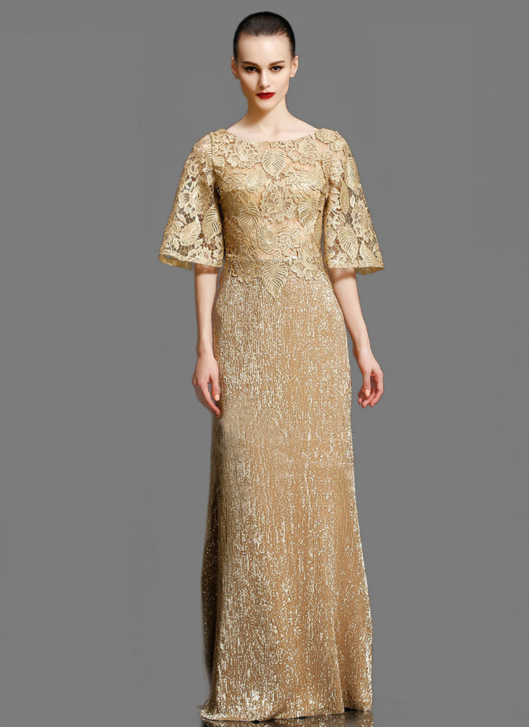 Gold Lace Peplum Evening Dress with Modified Angel Sleeves
