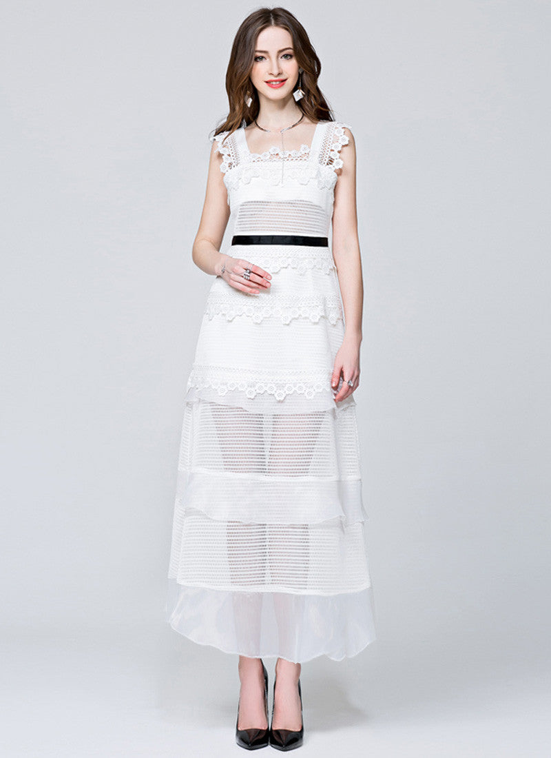 22bfa94a9e Stand Collar White Lace Chiffon Maxi Dress with Long Sleeve and Front Slit