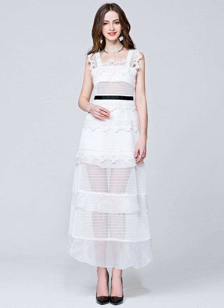 Stand Collar White Lace Chiffon Maxi Dress with Long Sleeve and Front Slit
