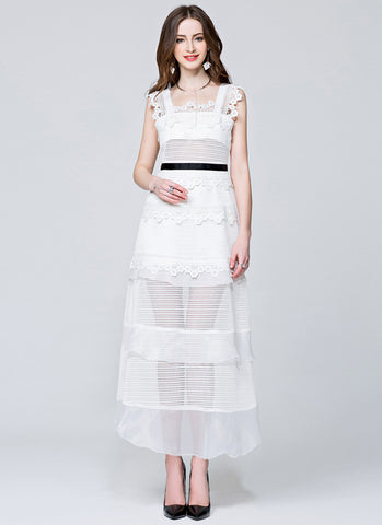 Stand Collar White Lace Chiffon Maxi Dress with Long Sleeve and Front Slit MX9