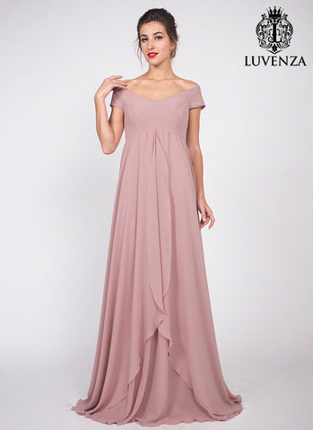 Dusty Rose Pink Off the Shoulder Chiffon Maxi Dress Bridesmaid Dress with Asymmetric Layered Skirt