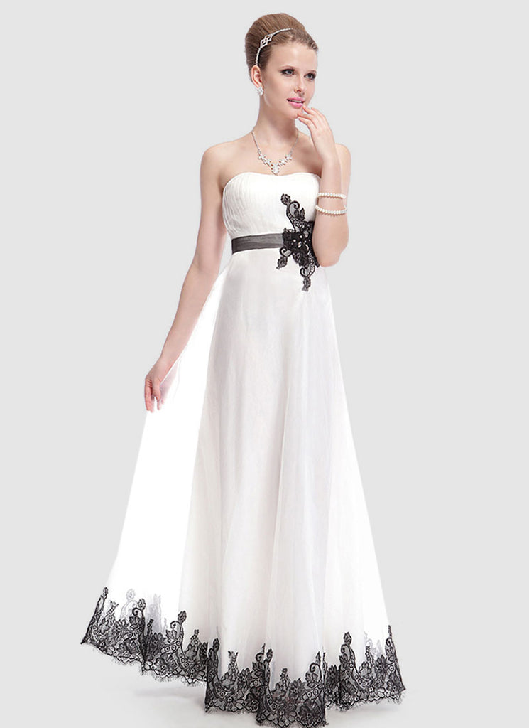 Strapless White Evening Dress with Black Lace Details and Embellishment