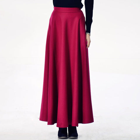 Deep Pink Wool Blend Maxi Skirt - Dark Magenta Skirt with Extra Wide Hem - WSK2C