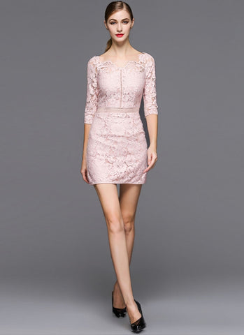 Dusty Rose Pink Lace Sheath Mini Dress with Scalloped V Neck and Elbow Sleeves MN46
