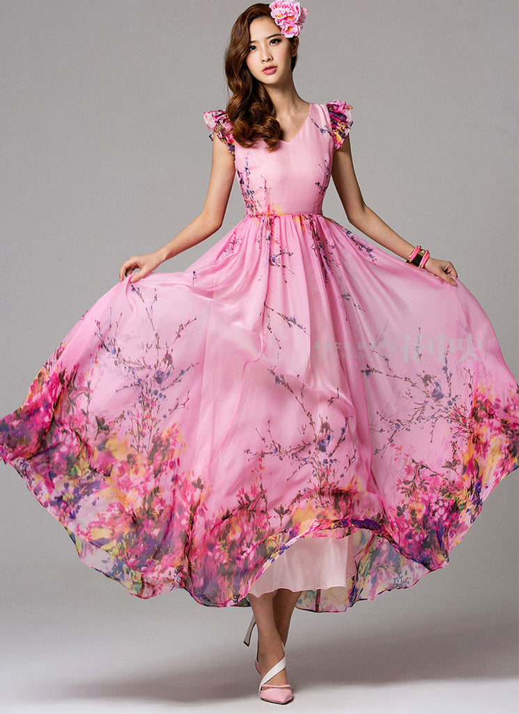 V Neck Pink Floral Maxi Dress with Modified Flutter Sleeves