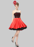 Black and Red Mini Dress with Ruched Top and Layered Skirt