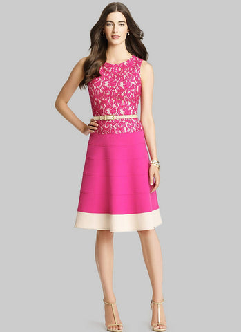 Fuchsia Lace Aline Mini Dress with Beige Hem RD315