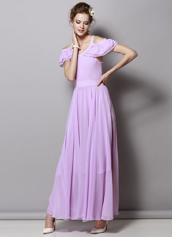 Open Shoulder Violet Chiffon Maxi Dress with Flounce Details RM347