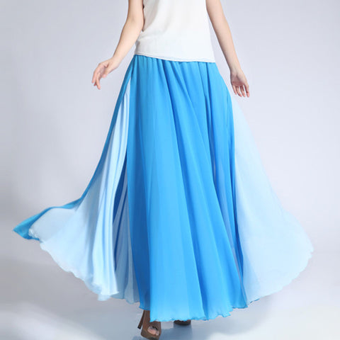 Deep Sky Blue and Light Blue Maxi Skirt - Contrast Colored Maxi Skirt - Long Layered Chiffon Skirt - SK6f