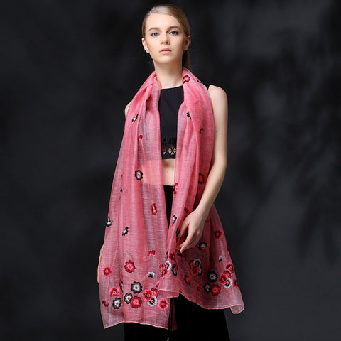 PINK FLORAL EMBROIDERED MULBERRY SILK WOOL-BLEND SCARF - HANDMADE FLORAL EMBROIDERED SILK WOOL-BLEND SCARF - FLORAL EMBROIDERED SILK WOOL-BLEND SCARF - 2016P1