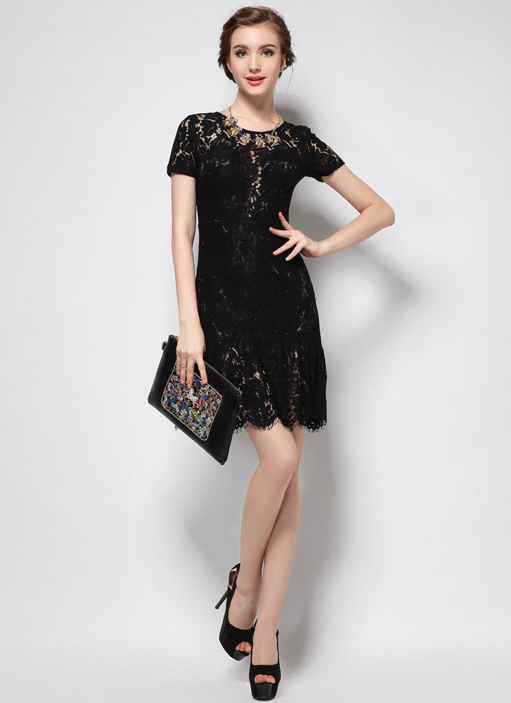 V Back Black Lace Mini Dress with Flounce Mermaid Scalloped Hem