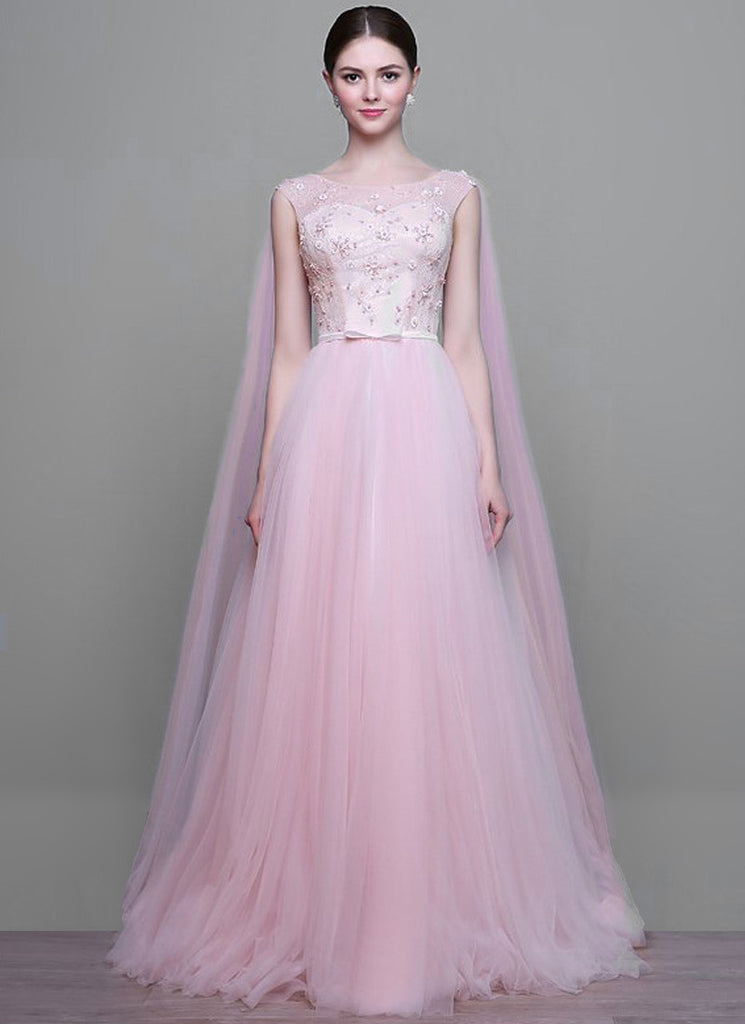 Light Pink Lace Tulle Maxi Dress Wedding Gown with Bead Embellishment