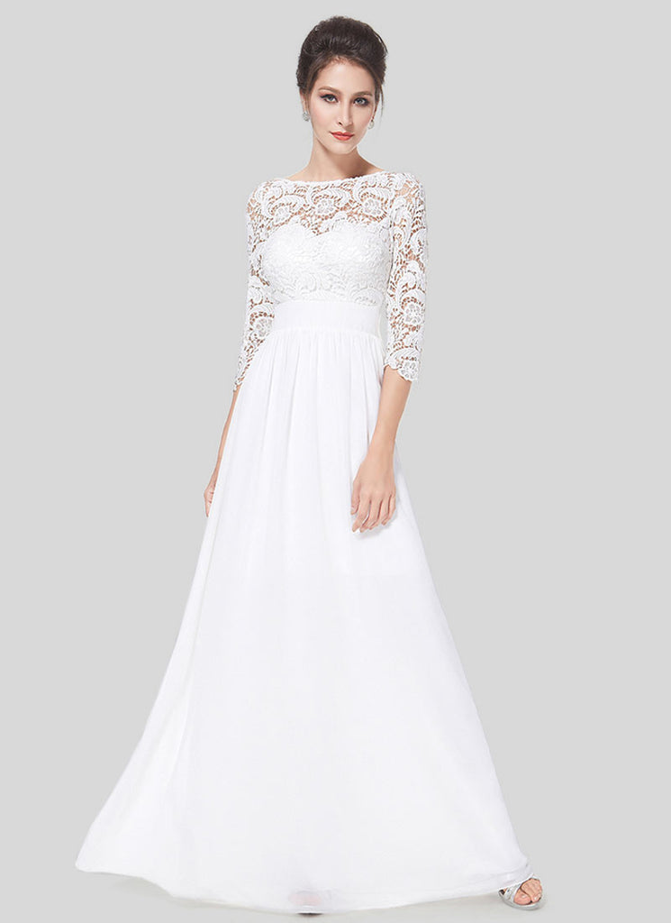 V Back White Lace Chiffon Evening Gown with Long Sleeves
