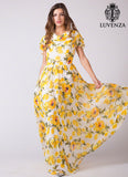 Sleeveless White and Yellow Lemon Print Chiffon Maxi Length Cocktail Dress