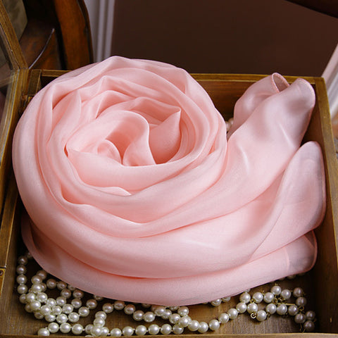 Pink Silk Chiffon Scarf - Baby Pink Mulberry Silk Scarf SS15