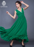 Sleeveless V Neck Green Chiffon Maxi Dress with White Lace Trim Details and Ruffled Skirt  Regular price