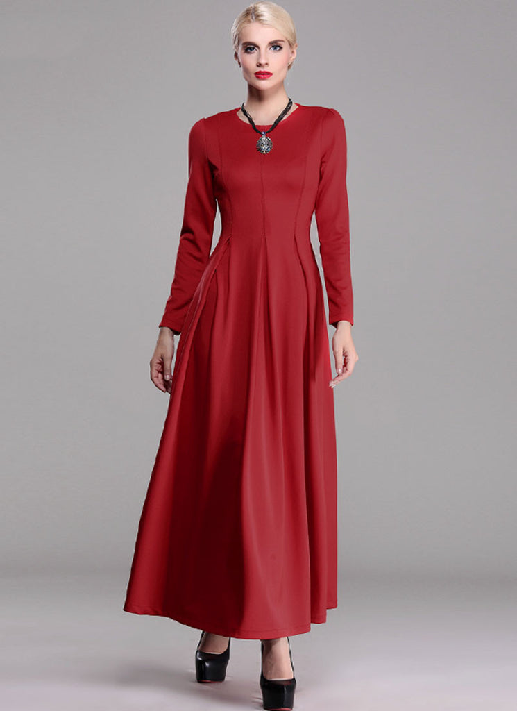Long Sleeve Maroon Maxi Dress