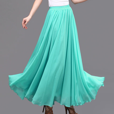Turquoise Chiffon Maxi Skirt with Extra Wide Hem - Long Cyan Chiffon Skirt - SK5m