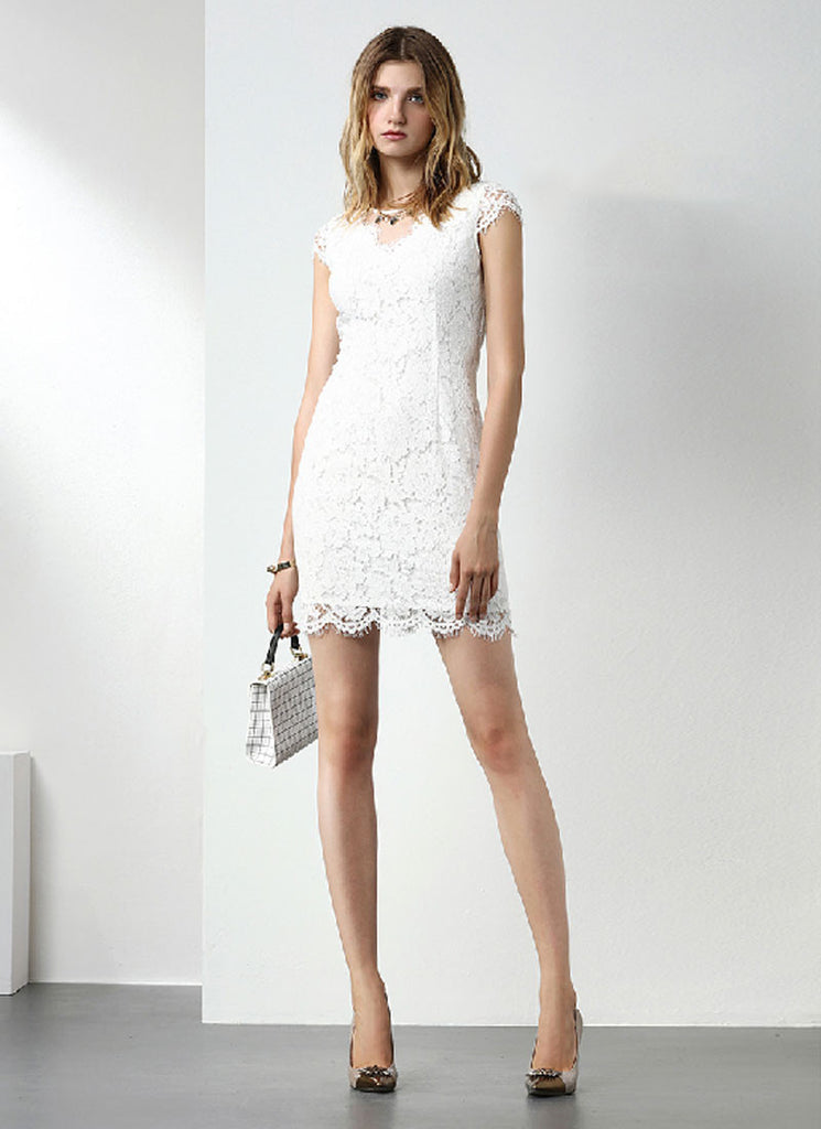 White Lace Sheath Mini Dress with Vented Neck and Scalloped Hem