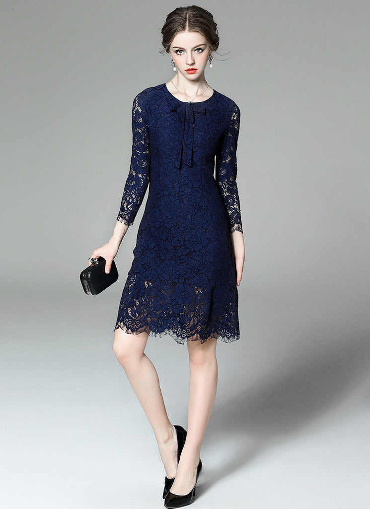 Midnight blue Lace Aline Mini Dress with Scallop and Eyelash Details