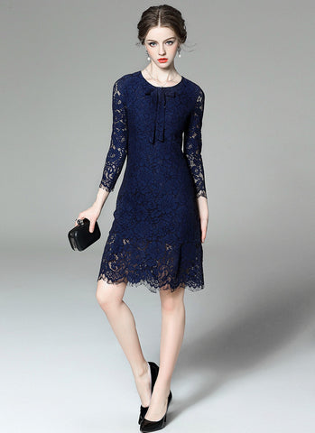 Midnight blue Lace Aline Mini Dress with Scallop and Eyelash Details MN95