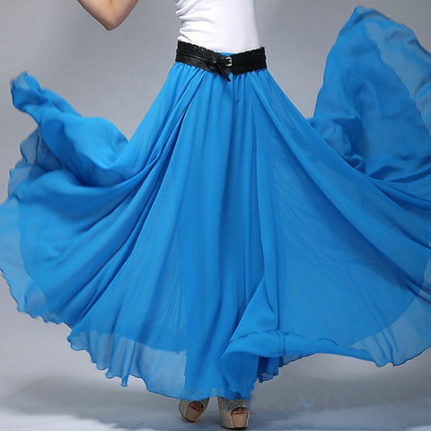 Royal Blue Chiffon Maxi Skirt with Extra Wide Hem - Long Blue Chiffon Skirt - SK2c