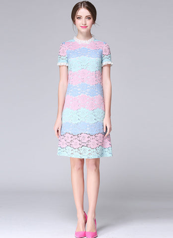 Lovely Macaron Color Multi Colored Lace Aline Mini Dress MN43