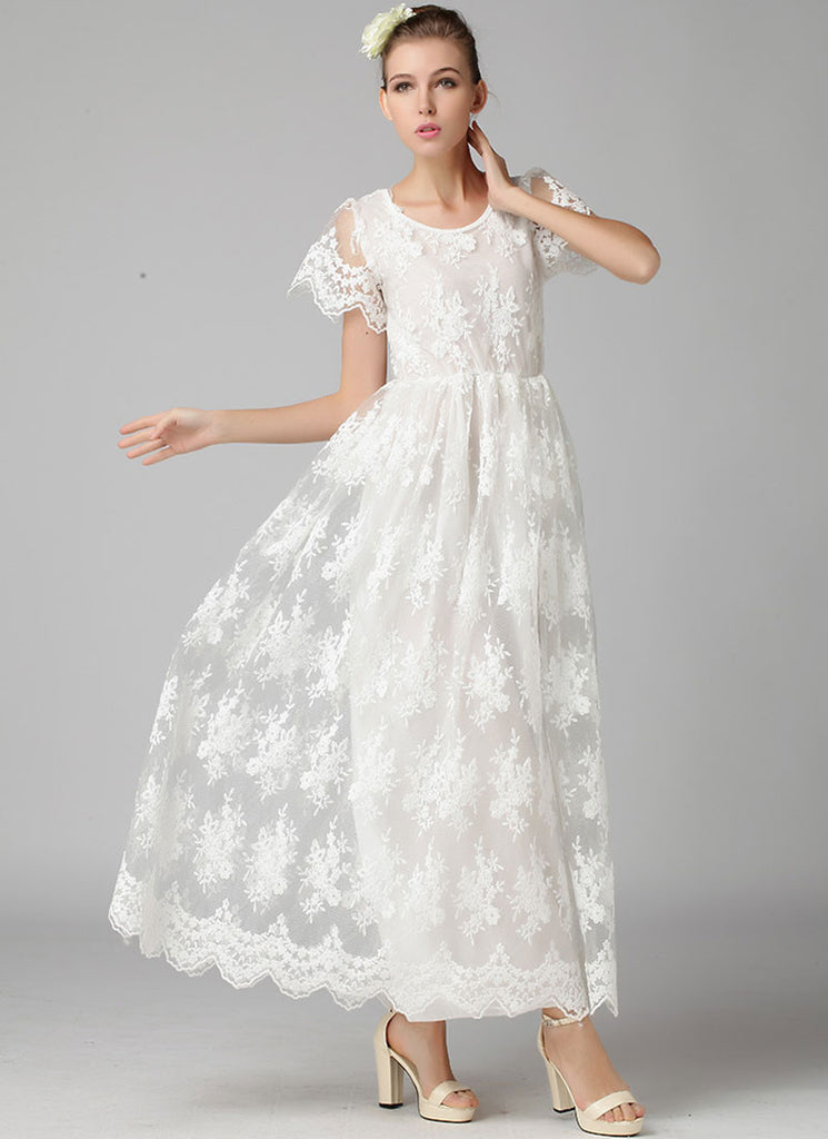 White Embroidered Organza Lace Maxi Dress with Scalloped Hem