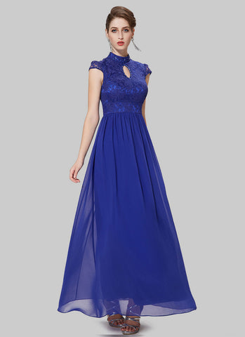 Blue Lace Chiffon Evening Dress with Stand Collar and Cap Sleeves RM484