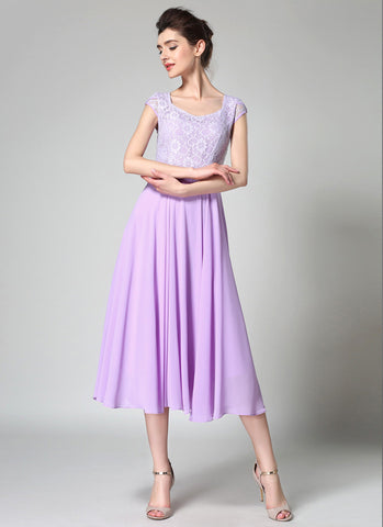 Thistle Lace Chiffon Midi Dress with Sweetheart Neck and Layered Cap Sleeves MD41