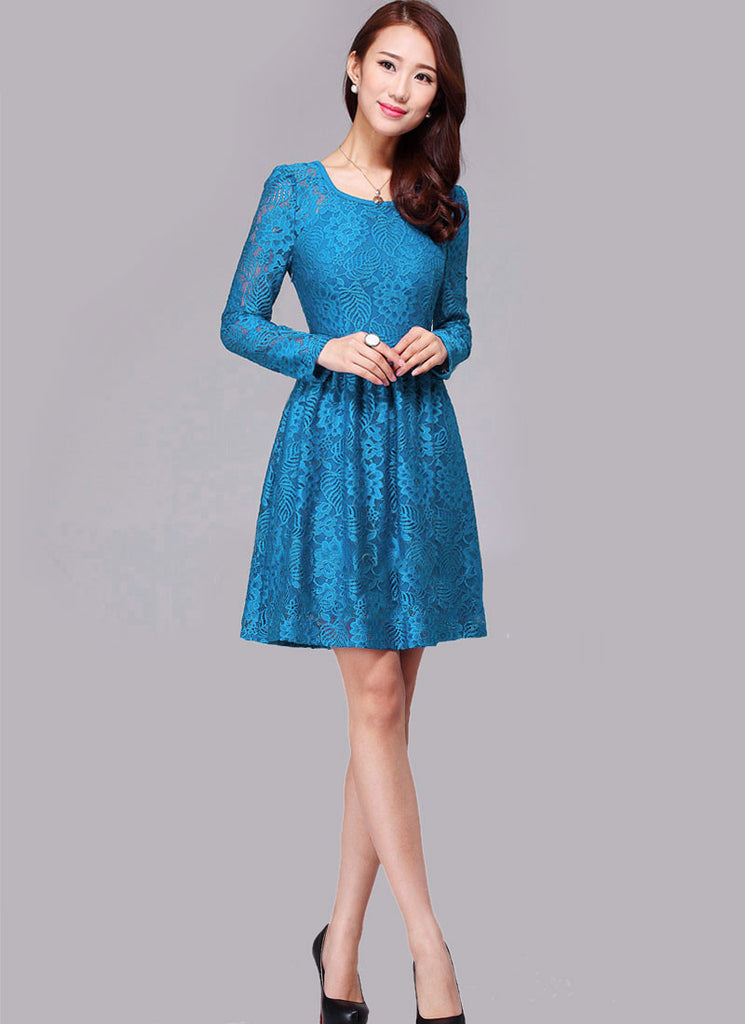Long Sleeved Cyan Blue Lace Fit and Flare Mini Dress