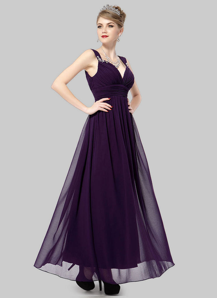 Deep V Back Dark Purple Evening Dress with Sweetheart Neck