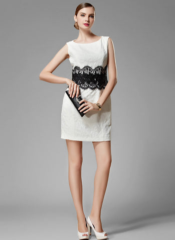 White Jacquard Mini Dress with Black Eyelash Lace Waist and Applique Details MN90