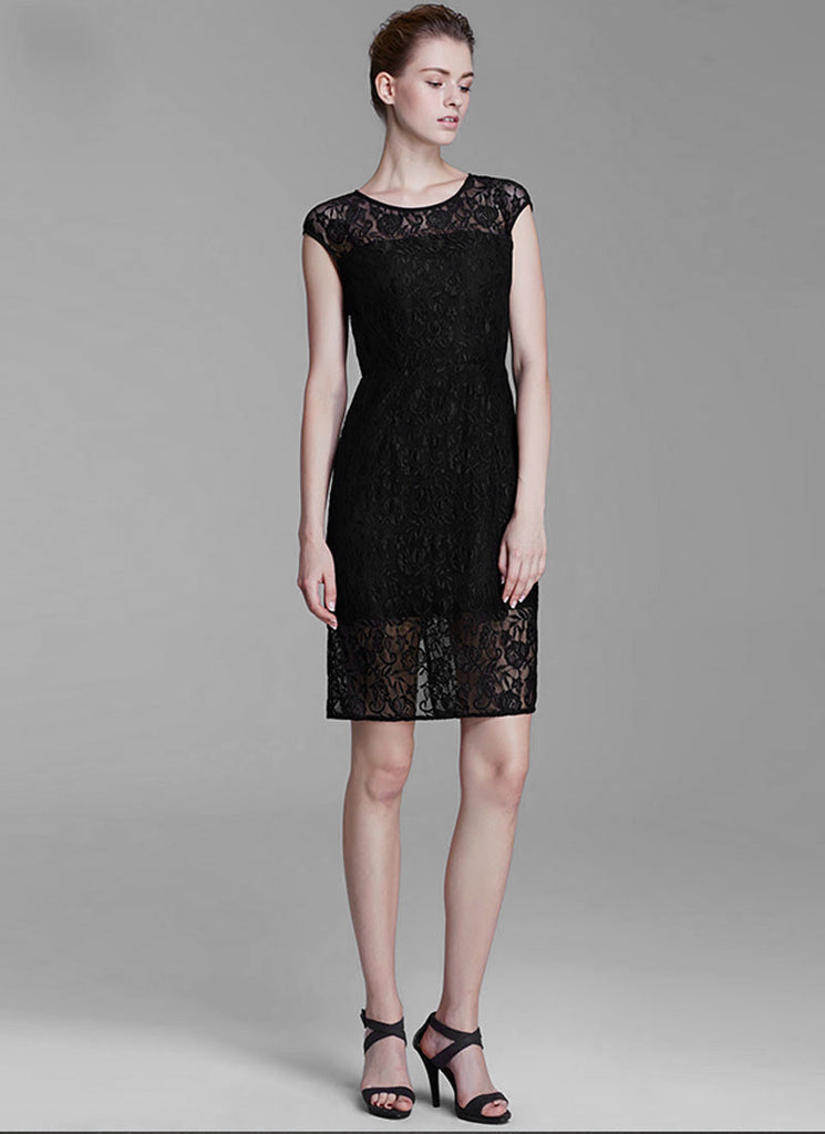 Black Lace Sheath Mini Dress with Back Slit and Keyhole Nape