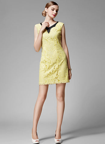 Yellow Lace Sheath Mini Dress with Black Neck Details MN88