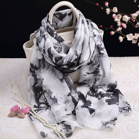 White and Black Floral Silk Scarf - Black Floral Printed Mulberry Silk Scarf -  Floral Printed Silk Georgette Scarf Shaw - 2017-3