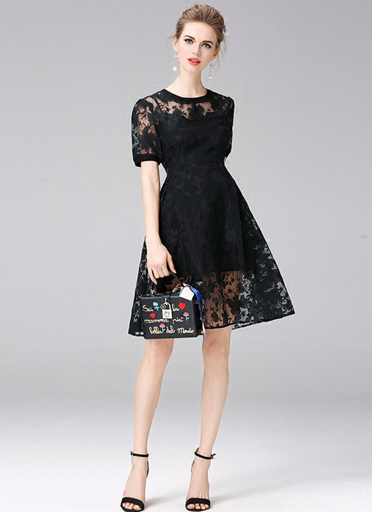 Black Floral Organza Aline Mini Dress with Short Sleeves