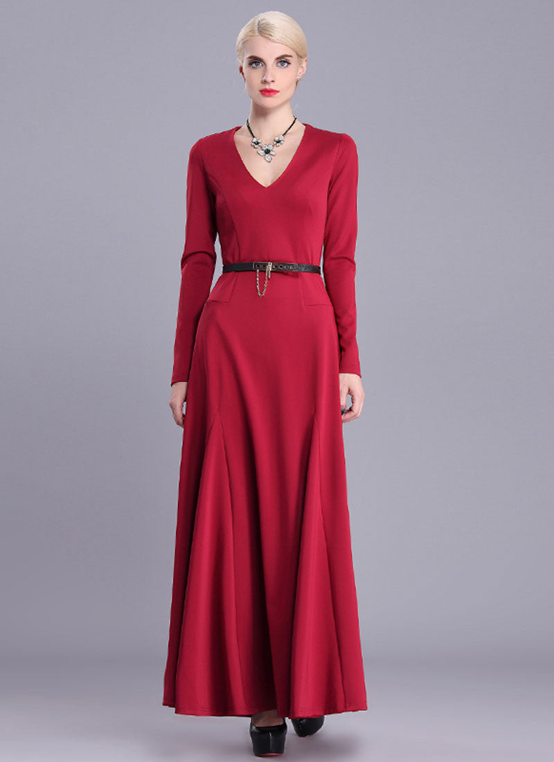 594ed787dc V Neck Red Maxi Dress with Long Sleeves RM404 – RobePlus